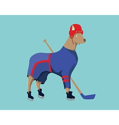 Hockey Dog Mascot in Blue Sportswear vector image