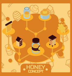 honey color isometric concept icons vector image