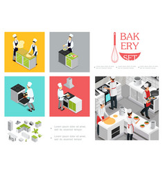 isometric restaurant cooking infographic template vector image