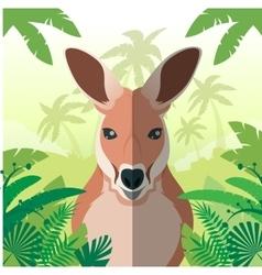 Kangaroo on jungle background vector