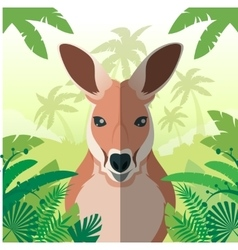 Kangaroo on the Jungle background vector