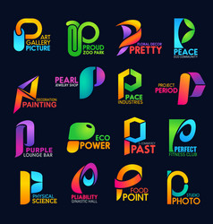Letter p corporate identity business icons signs vector