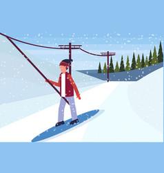 man snowboarder using ski lift cable way winter vector image