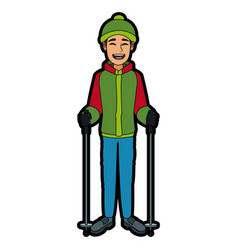 Man with clothes snow hat and sticks ski vector