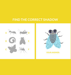 matching game with cute flying insects find the vector image