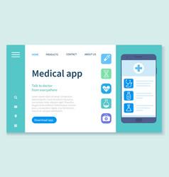 Medical app on smartphone screen online vector