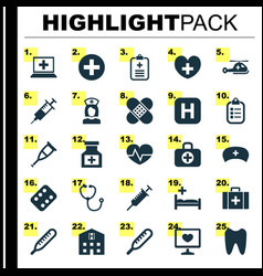 Medicine icons set collection of spike hospital vector