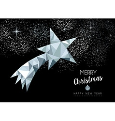 Merry christmas greeting card with silver star vector