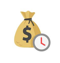 Money and time watch icon flat cartoon vector