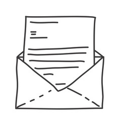 Monochrome contour of envelope mail opened vector