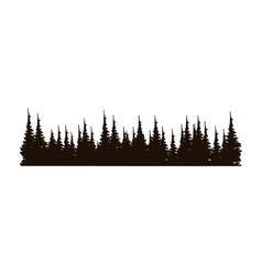 monochrome panoramic forest with pines vector image