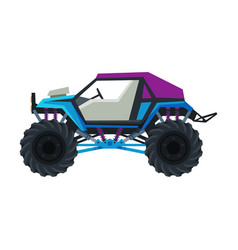 Monster truck vehicle car with large tires heavy vector