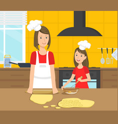 mother and her daughter cooking food in the vector image