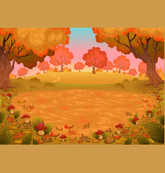 Mushrooms and ferns in the wood vector