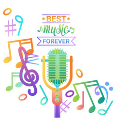 Music microphone banner colorful style modern vector