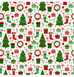 new year green tile pattern merry christmas flat vector image