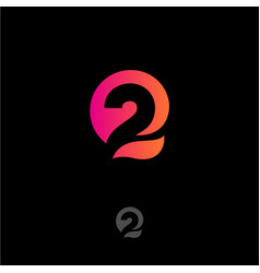 number 2 q letters monogram abstract logo vector image