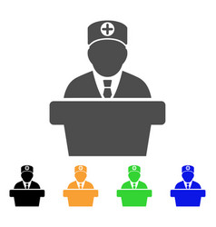 official doctor tribune flat icon vector image