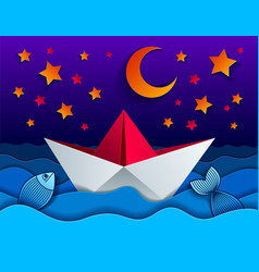 origami paper ship toy swimming in the night with vector image