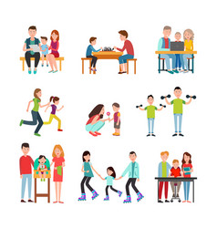 Parents spend time with children set vector