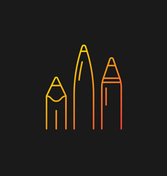 Pens and pencils gradient icon for dark theme vector