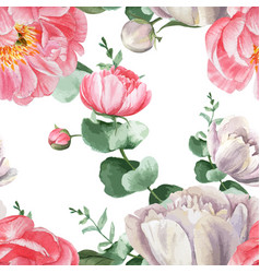 Peony flowers watercolor pattern seamless floral vector