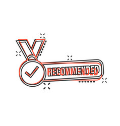 Recommend icon in comic style check mark medal vector
