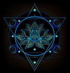 Sacred geometry and boo symbol set ayurveda sign vector