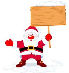 Santa claus holding board sign vector