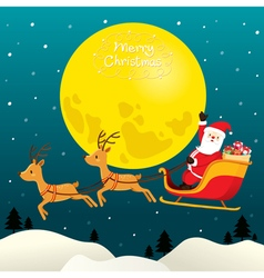 Santa Claus Riding On Sleigh Full Moon vector image