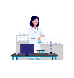 scientist woman working in research laboratory vector image