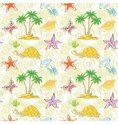 Seamless pattern palm trees and sea animals vector image