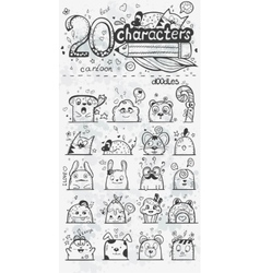 set 20 doodle hand drawn cartoon vector image