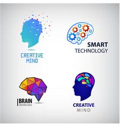set creative mind brainstorm smart vector image