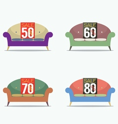 Set Of Vintage Sofas On Sale vector image