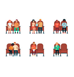 Set people and couples sitting in cinema vector