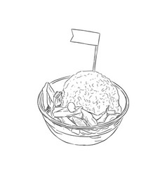 Shave ice dessert sketch vector