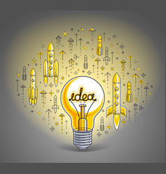 shining light bulb and set of launching rockets vector image