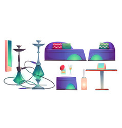 Shisha hookah bar set cafe for smoking stuff vector