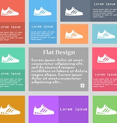 Sneakers icon sign Set of multicolored buttons vector image