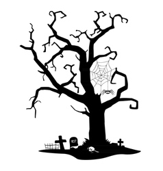 Spooky silhouette tree vector