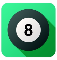 Sport icon with billiard ball in flat style vector image
