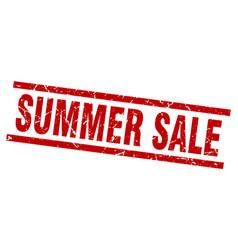 square grunge red summer sale stamp vector image