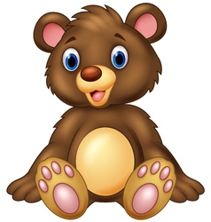 Teddy bear sitting and adorable with cute smileTed vector image