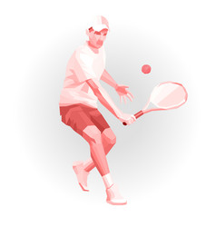 tennis player low poly geometric vector image