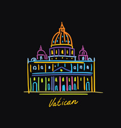 vatican postcard color vector image
