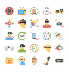 Virtual reality and drones flat icons set vector