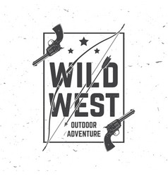 wild wes badge with indian warrior arrow bow and vector image