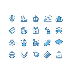 winter holiday sign blue thin line icon set vector image