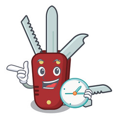 With clock penknife in a character shape vector